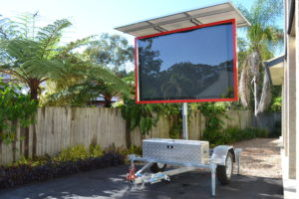 red LED trailer brisbane made in capalaba brisbane displaying L.E.D full colour VMS