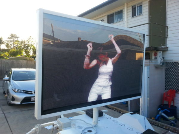 LED trailer made in capalaba showing dancing lady